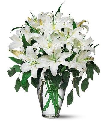 Afyon internetten çiçek satışı  4 dal kazablanka ile görsel vazo tanzimi
