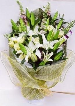 Afyon çiçek servisi , çiçekçi adresleri  3 adet kazablankalardan görsel buket çiçeği
