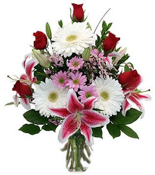 Afyon çiçek mağazası , çiçekçi adresleri  1 dal kazablanka 5 gül ve kırçiçeği vazosu