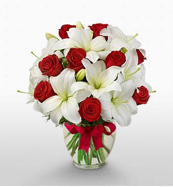 Afyon hediye çiçek yolla  1 dal kazablanka 11 adet kırmızı gül vazosu