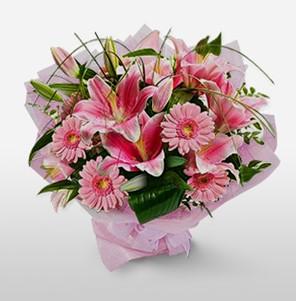 1 dal kazablanka ve kır çiçek görsel buketi  Afyon internetten çiçek satışı
