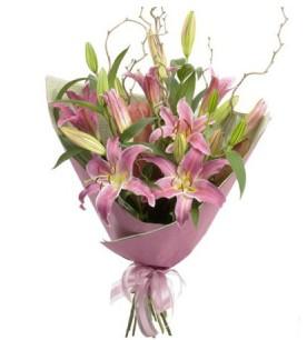 Afyon İnternetten çiçek siparişi  3 dal cazablanca buket çiçeği