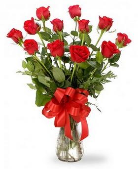 Afyon çiçek , çiçekçi , çiçekçilik  12 adet kırmızı güllerden vazo tanzimi