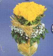 Afyon anneler günü çiçek yolla  Cam vazoda 9 Sari gül