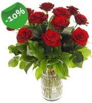 11 adet vazo içerisinde kırmızı gül  Afyon online çiçek gönderme sipariş