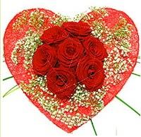 Mika kalp içerisinde 7 adet kırmızı gül  Afyon çiçekçi mağazası