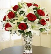 12 adet kırmızı gül 2 dal kazablanka vazosu  Afyon çiçek satışı
