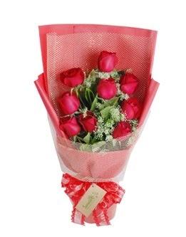 9 adet kırmızı gülden görsel buket  Afyon ucuz çiçek gönder