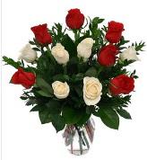 Vazo içerisinde 6 kırmızı 6 beyaz gül  Afyon hediye çiçek yolla