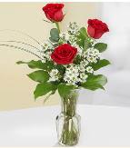 Vazo içerisinde 3 adet kırmızı gül  Afyon çiçek satışı