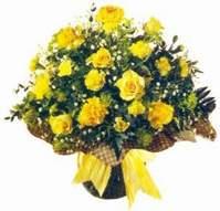 Afyon çiçek , çiçekçi , çiçekçilik  Sari gül karanfil ve kir çiçekleri