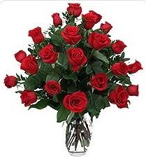 Afyon çiçek siparişi sitesi  24 adet kırmızı gülden vazo tanzimi