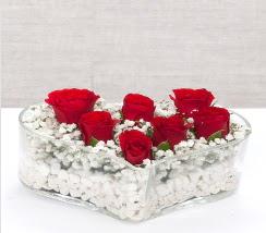 kalp içerisinde 7 adet kırmızı gül  Afyon çiçek siparişi vermek