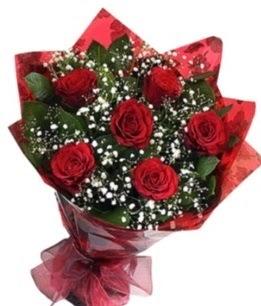 6 adet kırmızı gülden buket  Afyon yurtiçi ve yurtdışı çiçek siparişi