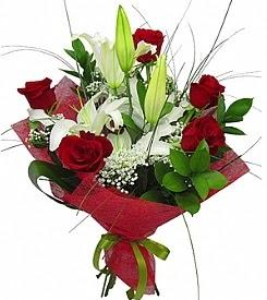 1 dal kazablanka 5 kırmızı gül buketi  Afyon kaliteli taze ve ucuz çiçekler