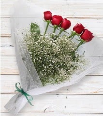5 kırmızı gülden sade buket  Afyon çiçek yolla
