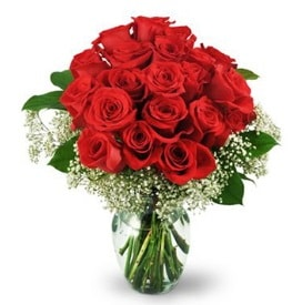 25 adet kırmızı gül cam vazoda  Afyon çiçek , çiçekçi , çiçekçilik