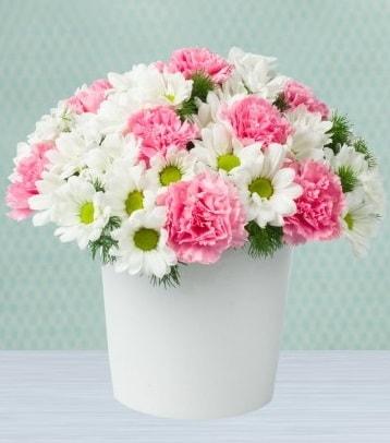Seramik vazoda papatya ve kır çiçekleri  Afyon çiçek siparişi sitesi