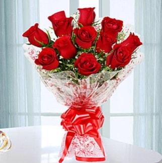 11 adet kırmızı gülden görsel şık buket  Afyon ucuz çiçek gönder
