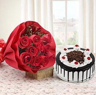 12 adet kırmızı gül 4 kişilik yaş pasta  Afyon çiçek , çiçekçi , çiçekçilik