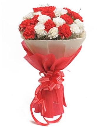 21 adet kırmızı beyaz karanfil buketi  Afyon çiçek satışı
