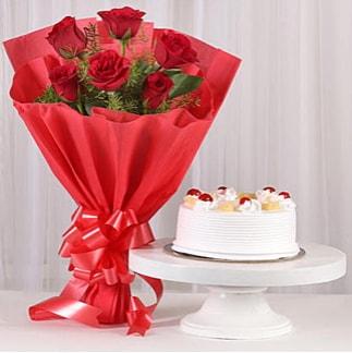 6 Kırmızı gül ve 4 kişilik yaş pasta  Afyon çiçek , çiçekçi , çiçekçilik