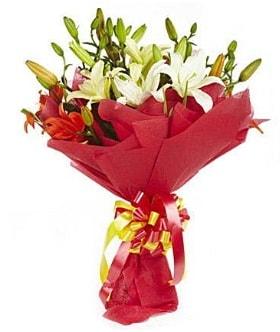 5 dal kazanlanka lilyum buketi  Afyon çiçek gönderme sitemiz güvenlidir