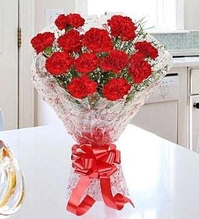 12 adet kırmızı karanfil buketi  Afyon İnternetten çiçek siparişi