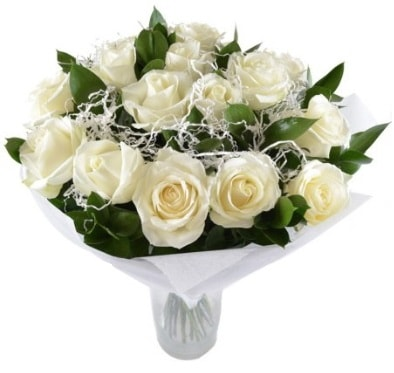 15 beyaz gül buketi sade aşk  Afyon çiçek satışı