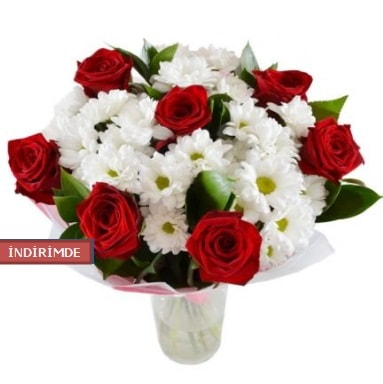 7 kırmızı gül ve 1 demet krizantem  Afyon çiçek gönderme sitemiz güvenlidir