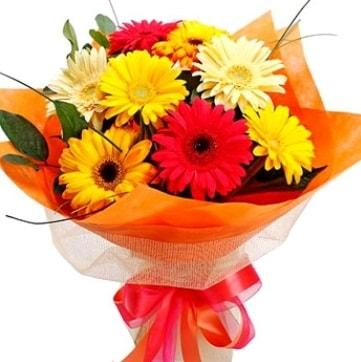 9 adet karışık gerbera buketi  Afyon çiçek , çiçekçi , çiçekçilik