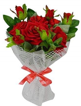 9 adet kırmızı gülden sade şık buket  Afyon çiçekçi telefonları