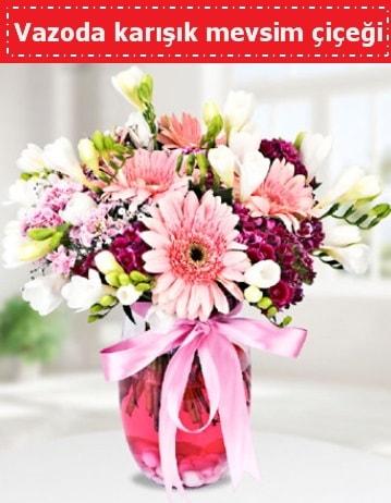Vazoda karışık mevsim çiçeği  Afyon çiçek , çiçekçi , çiçekçilik