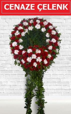 Kırmızı Beyaz Çelenk Cenaze çiçeği  Afyon İnternetten çiçek siparişi
