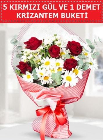 5 adet kırmızı gül ve krizantem buketi  Afyon çiçek satışı