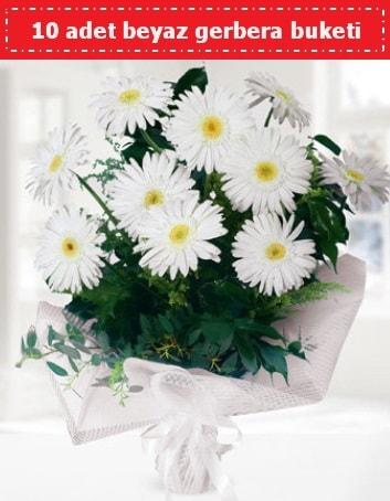 10 Adet beyaz gerbera buketi  Afyon çiçek , çiçekçi , çiçekçilik