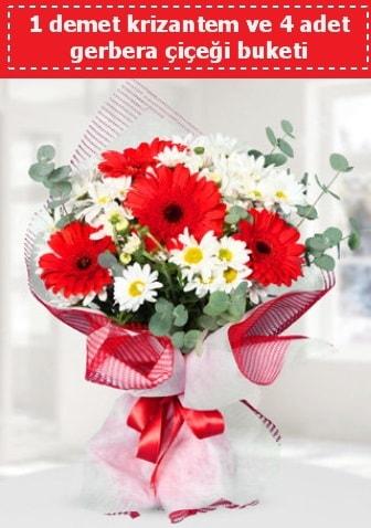 Krizantem ve Gerbera Buketi  Afyon çiçek siparişi sitesi