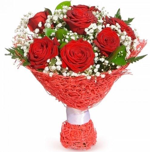 7 adet kırmızı gül buketi  Afyon çiçekçiler