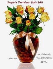 Afyon internetten çiçek satışı  mika yada Cam vazoda 12 adet sari gül